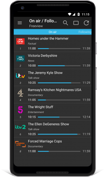 TV Guide UK Android App listings